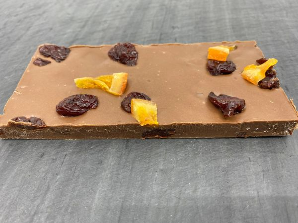 Milk Chocolate with Candied Orange and Cherry Bar