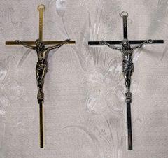 Cruz de Metal con Cristo (oro) - Metal Christ on the Cross (gold)
