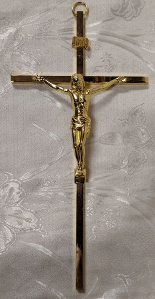 Cruz de Metal con Cristo (oro/grande) - Christ on Metal Cross (gold/large)