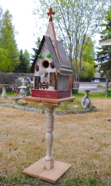 Medium Church Birdhouse On Antique Baluster