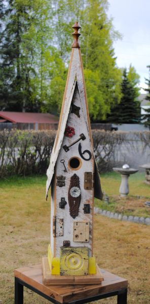 Large Church Birdhouse With Yellow Plinth And Glass Doorknob