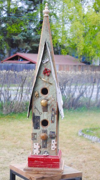 "Large Church Birdhouse ""Bronze Mansion"""