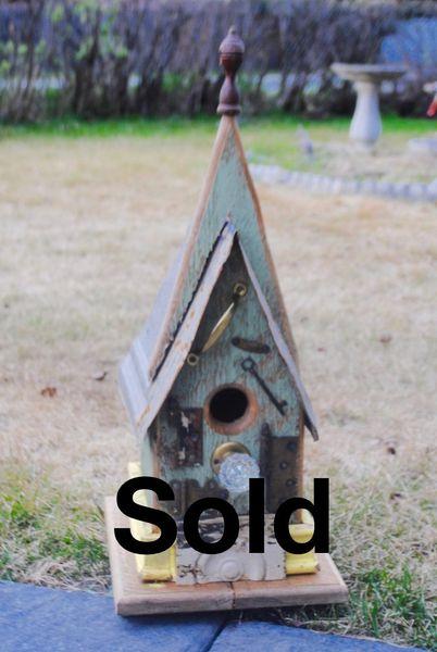 Medium Church Birdhouse with Vintage Crystal Doorknob