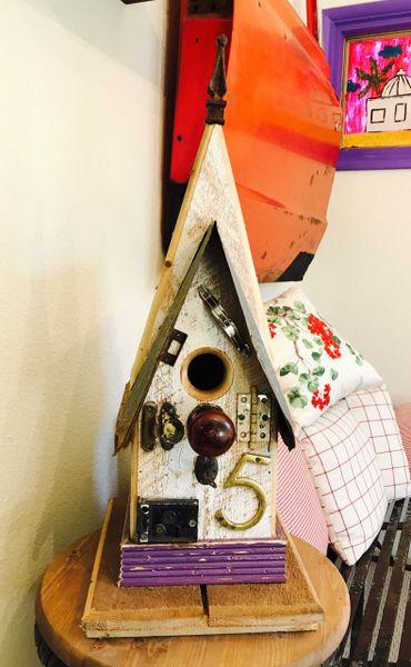 Medium Folk Art Birdhouse Purple Trim