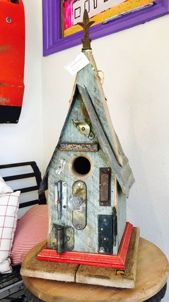 Medium Green And Red Folk Art Birdhouse
