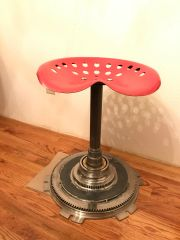 Red Tractor Seat Pan Spinning Stool