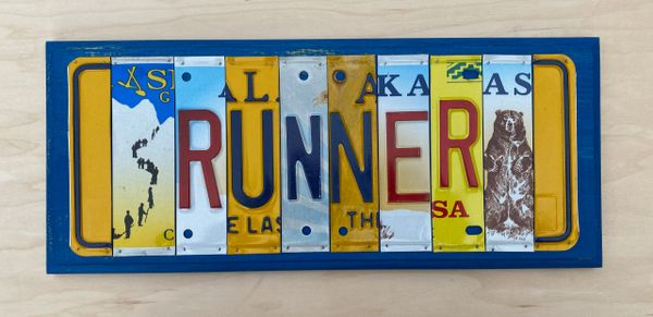 Runner License Plate Sign