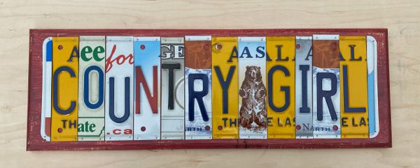 Country Girl License Plate Sign