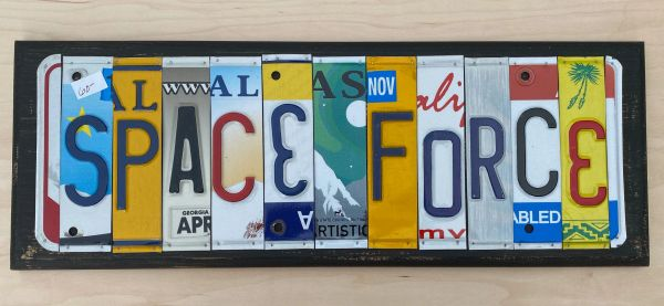 Space Force License Plate Sign