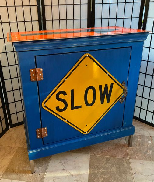 """Slow down, Only One Way"" All Wood Construction Wood Cabinet"