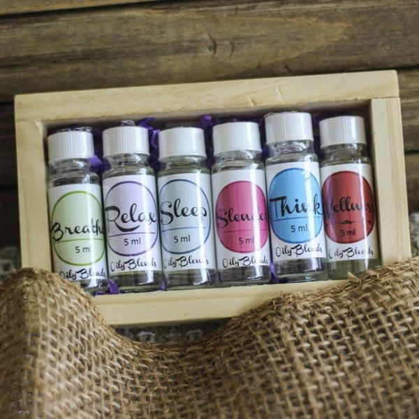 Essential Oil Set in Wooden Crate
