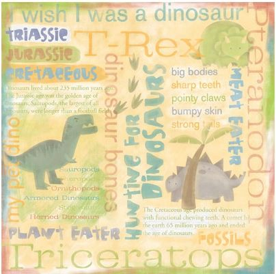 Dinosaurs Collage 12x12 Paper