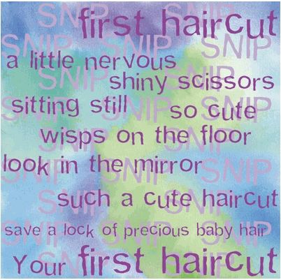 First Haircut Word 12x12 Paper