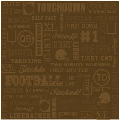 Football Collage Brown 12x12 Paper