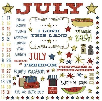 July 8X8 Calendar Rub-on
