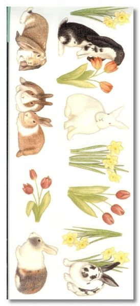 Bunnies and Flowers Sticker