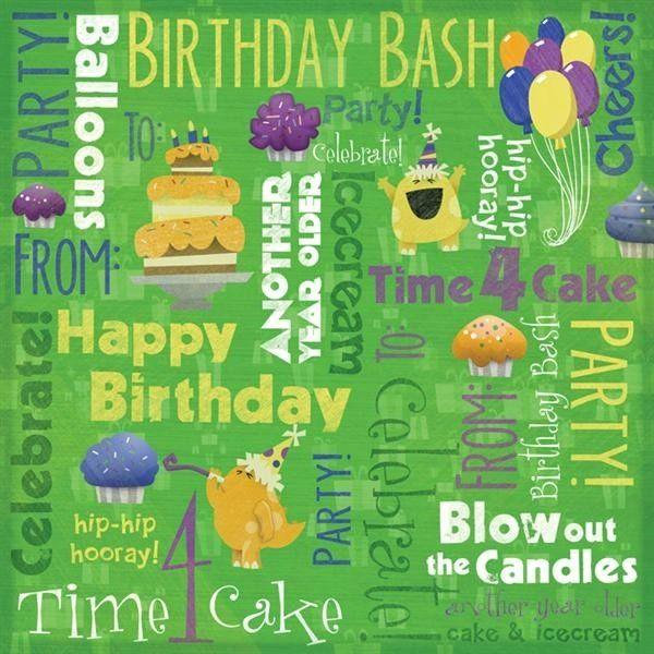Birthday Bash Collage 12x12 Paper