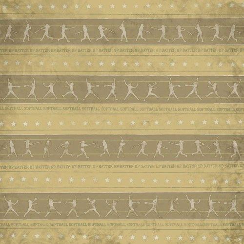 Softball Stripes Woman 12x12 Paper