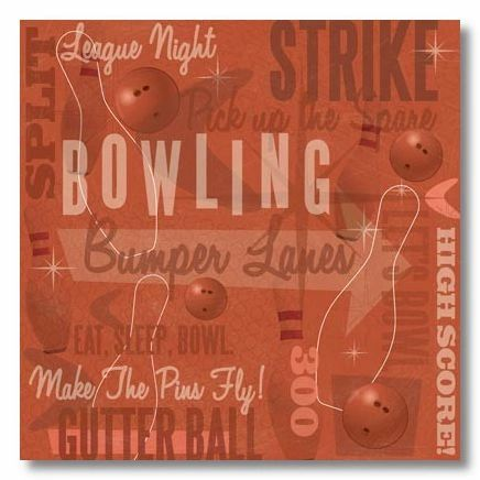 Bowling Collage 12x12 Paper