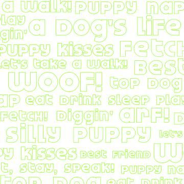 Woof Words White 12x12 Paper