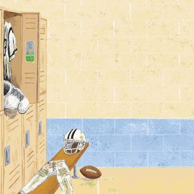 Football Locker Room Wall 12x12 Paper