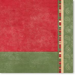 Green Paisley Color Block 12x12 Paper