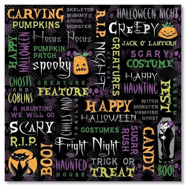 Halloween Night Collage 12x12 Paper