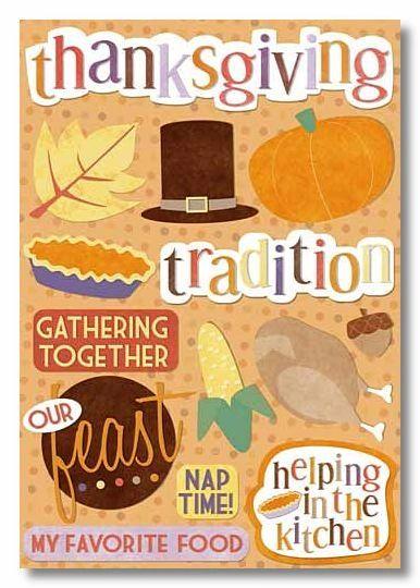 Thanksgiving Traditions Cardstock Sticker