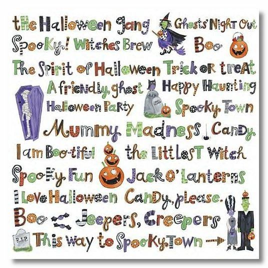 Spookytown Words 12x12 Vellum