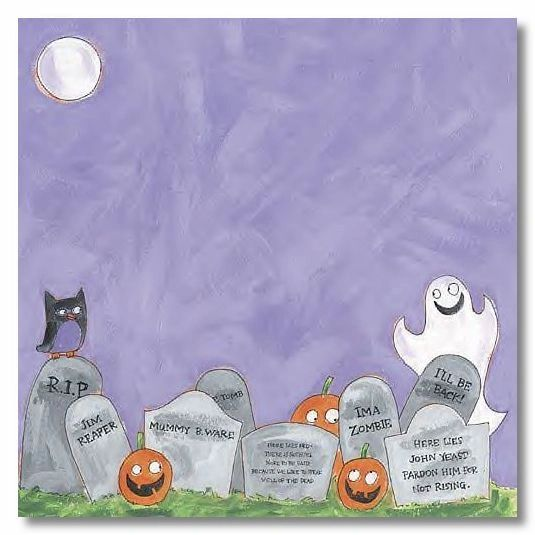 Spooky Graveyard 12x12 Paper