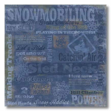 Snowmobiling Collage 12x12 Paper