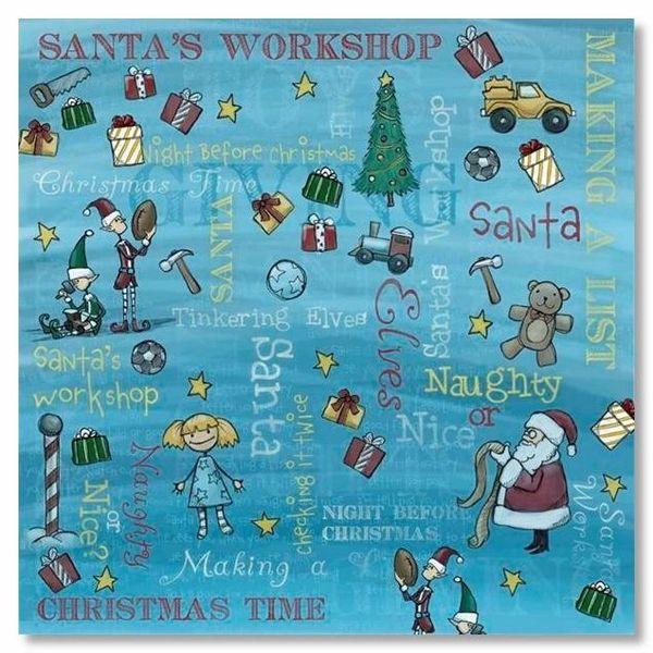 Santa's Workshop Collage 12x12 Paper