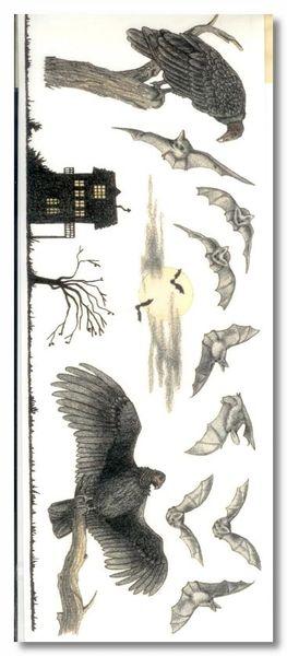 Halloween Vultures & Bats Stickers