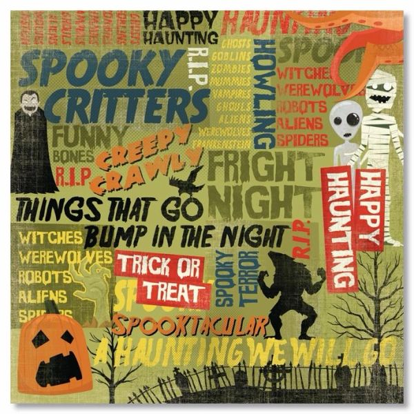 Happy Haunting Collage 12x12 Paper