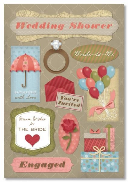 It's A Wedding Shower Cardstock Stickers