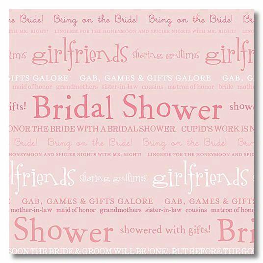 Pink Bridal Words 12x12 Paper