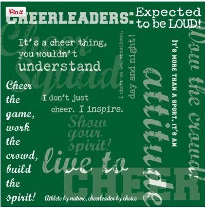 Cheerleader Words Green 12x12 Paper