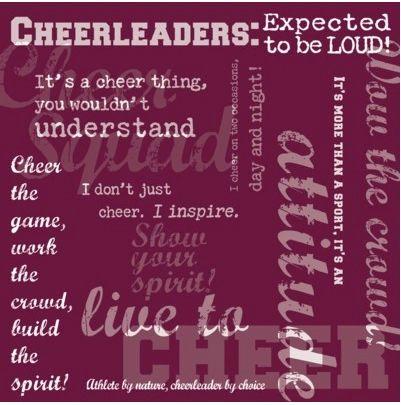 Cheerleader Words Maroon 12x12 Paper