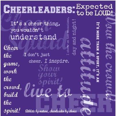 Cheerleader Words Purple 12x12 Paper