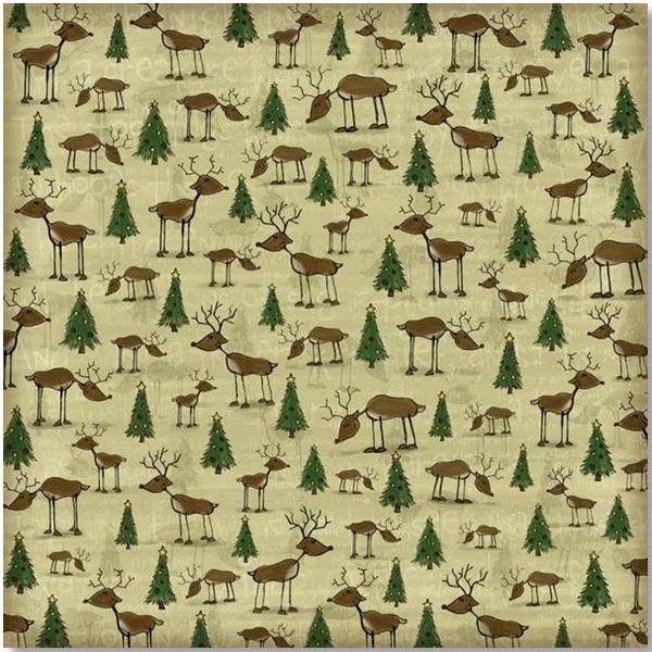Christmas Reindeer 12x12 Paper