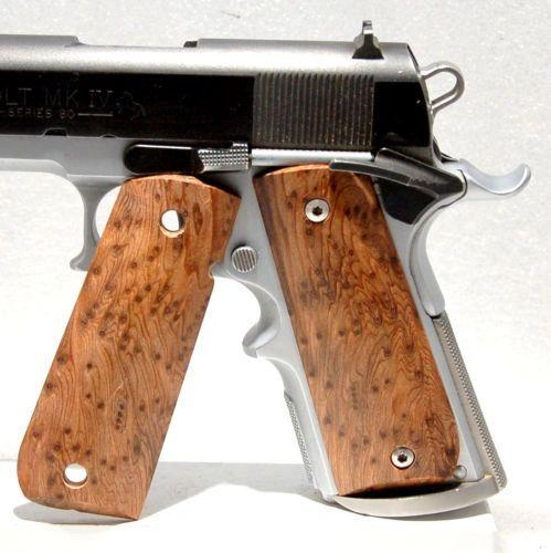 Gun / Pistol Grips, 1911 Full Size, Stabilized Wood, Redwood Burl, Bobtail  (5)