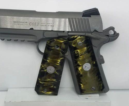 Gun / Pistol Grips, 1911 Full Size, Kirinite ®, Green Venom With Colt Logo