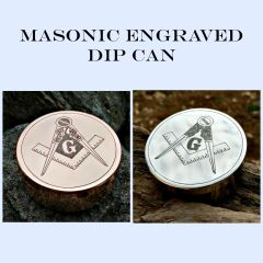 Dip Can and Engraved Lid with Masonic Square and Compass Emblem