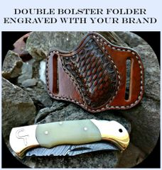 Damscus Folder with Bone Handle, Double Brass Bolsters