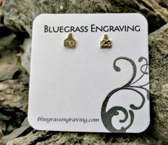 Small Ear Tag Post Earrings, Customized