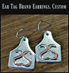 Custom Ear Tag Cattle Brand Earrings