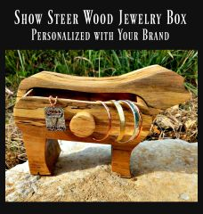 Wood Show Steer Jewelry Box with Brand