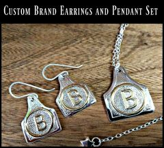Custom Livestock Brand Earrings and Pendant Set