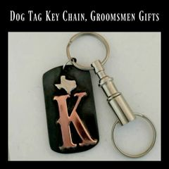 Dog Tag Keychain, Initial Keychain, Groomsmen Gifts
