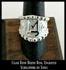 Cigar Band Brand Ring, Engraved Scrollwork